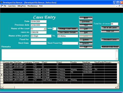 Advocate legal case diary management software.